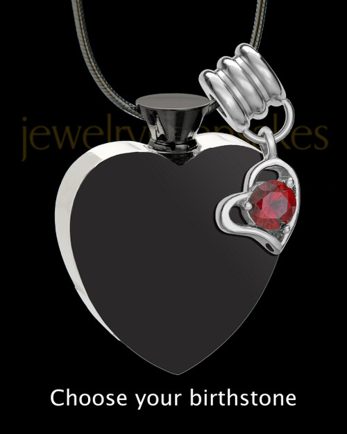 Black and Stainless Steel Enamored Heart With Birthstone Cremation Keepsake