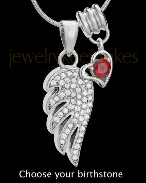 Sterling Silver Soaring Spirit With Birthstone Cremation Urn Pendant