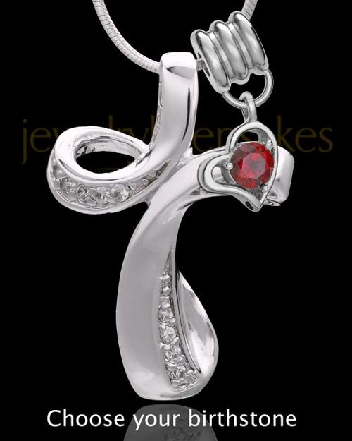 Sterling Silver Fluid Cross With Birthstone Keepsake Jewelry