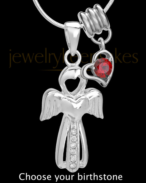 Sterling Silver Heavenly Attendant With Birthstone Cremation Urn Pendant