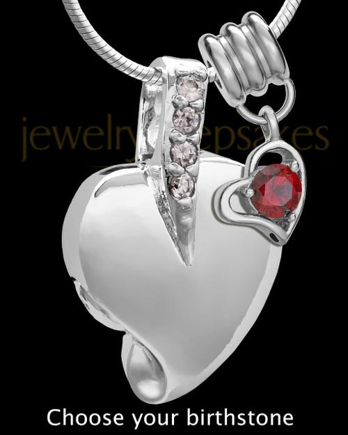 Sterling Silver Weeping Heart With Birthstone Keepsake Jewelry