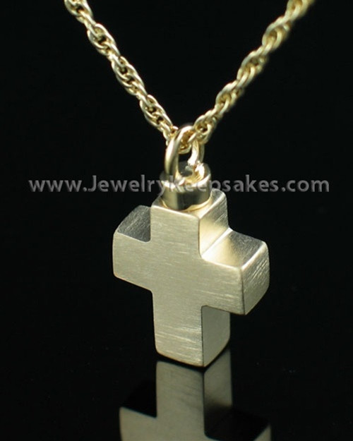 Cremation Charm Gold Plated Mini Cross