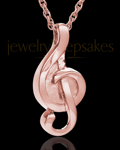 14K Rose Gold Music to My Heart Cremation Necklace
