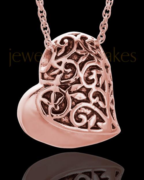 14K Rose Gold Intricate Heart Urn Pendant
