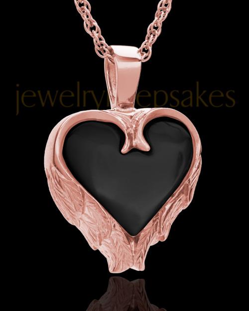 14K Rose Gold Onyx Winged Heart Keepsake