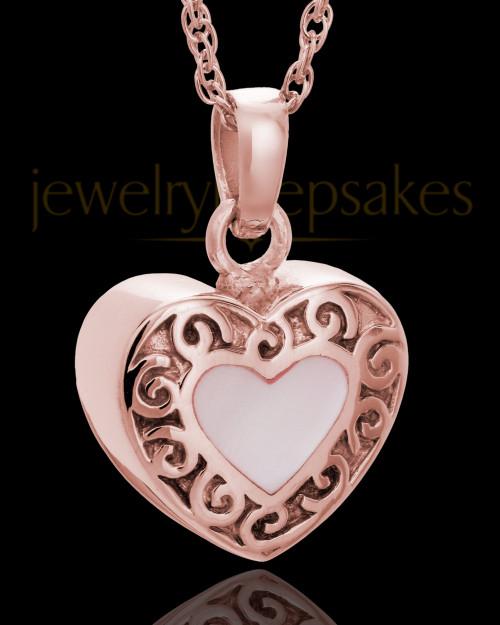 14K Rose Gold Blushing Heart Urn Keepsake