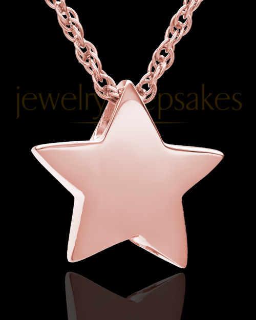 14K Rose Gold Sliding Star Cremation Keepsake