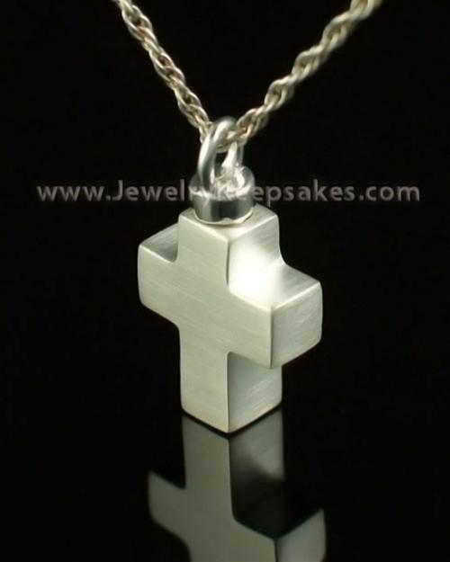 Cremation Charm 14K White Gold Mini Cross