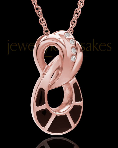 14K Rose Gold and Onxy Infinity Cremation Necklace
