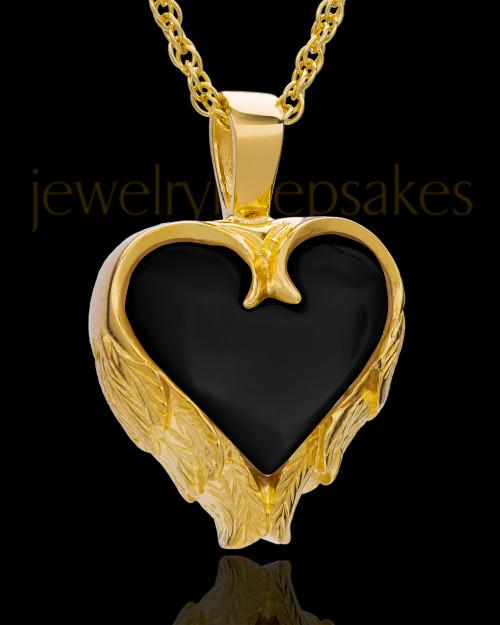 14K Gold Onyx Winged Heart Keepsake