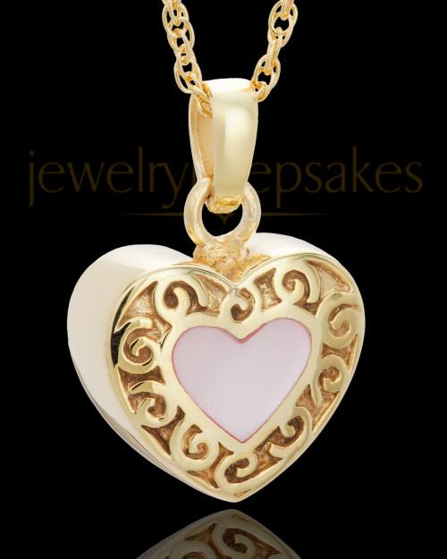 14K Gold Blushing Heart Urn Keepsake