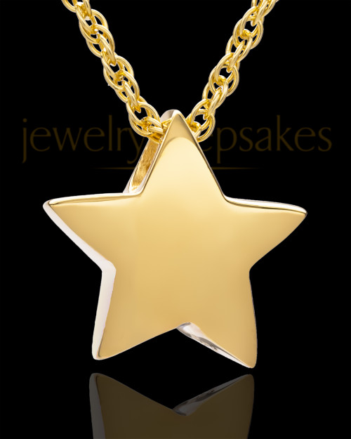 14K Gold Sliding Star Cremation Keepsake