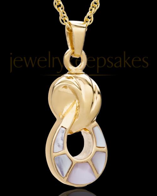14K Gold 2 Person Contemporary Companion Infinity Ash Pendant