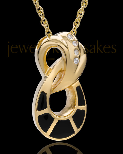 14K Gold and Onxy Infinity Cremation Necklace