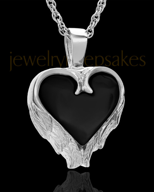 14K White Gold Onyx Winged Heart Keepsake