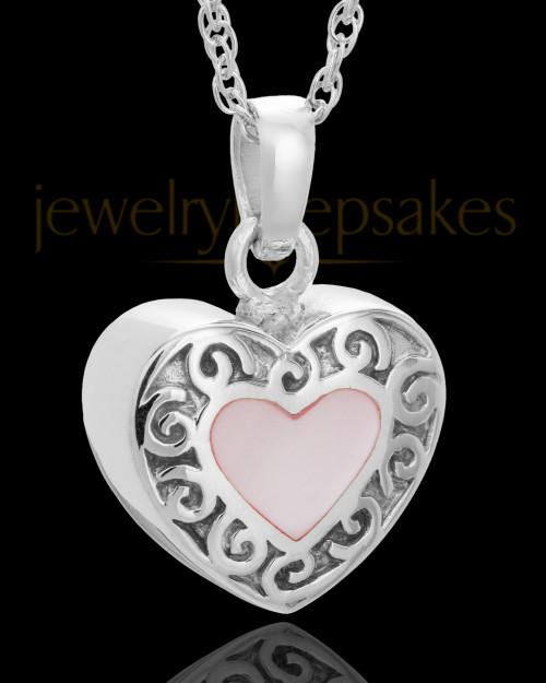 14K White Gold Blushing Heart Urn Keepsake