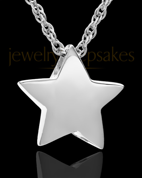 14K White Gold Sliding Star Cremation Keepsake