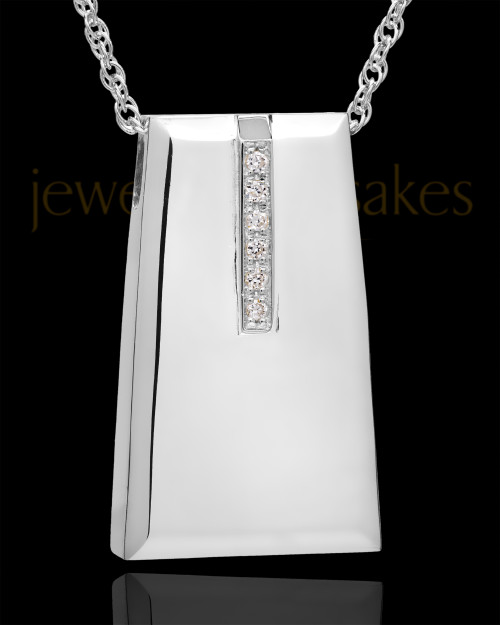 14K White Gold Shimmer Rectangle Cremation Necklace