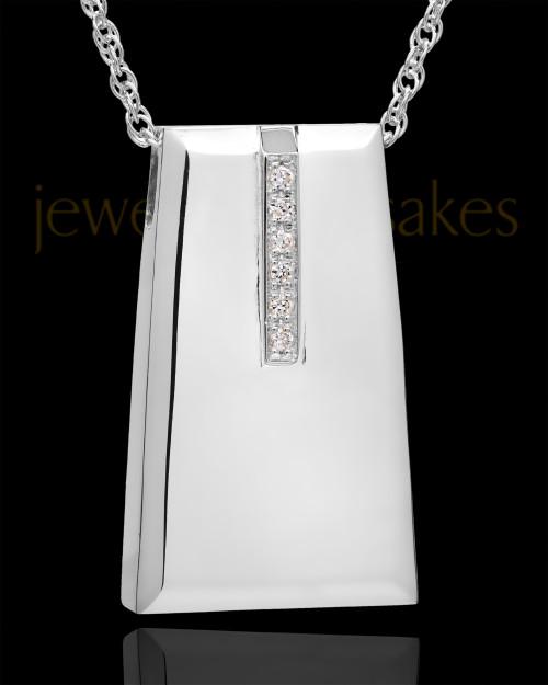 14K White Gold Shimmer Rectangle Cremation Necklace