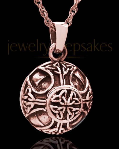 14K Rose Gold Irish Round Cremation Jewelry