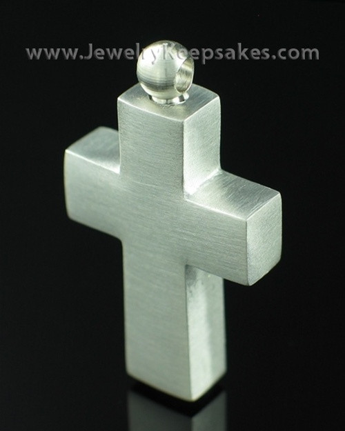 Cremation Locket Pewter Cross