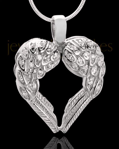 14K White Gold Winged Memories Heart Keepsake Jewelry