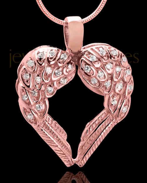 14K Rose Gold Winged Memories Heart Keepsake Jewelry