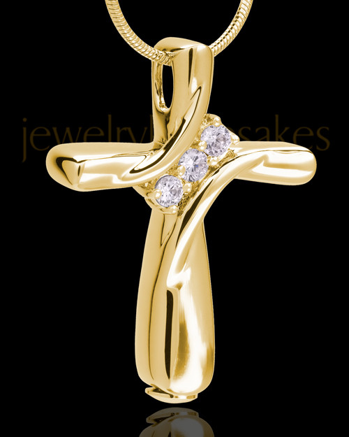 14K Gold Elegant Cross Cremation Pendant