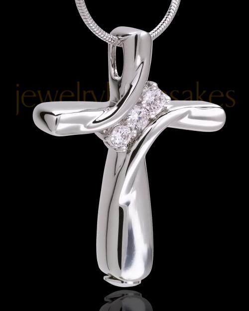 14K White Gold Elegant Cross Cremation Pendant