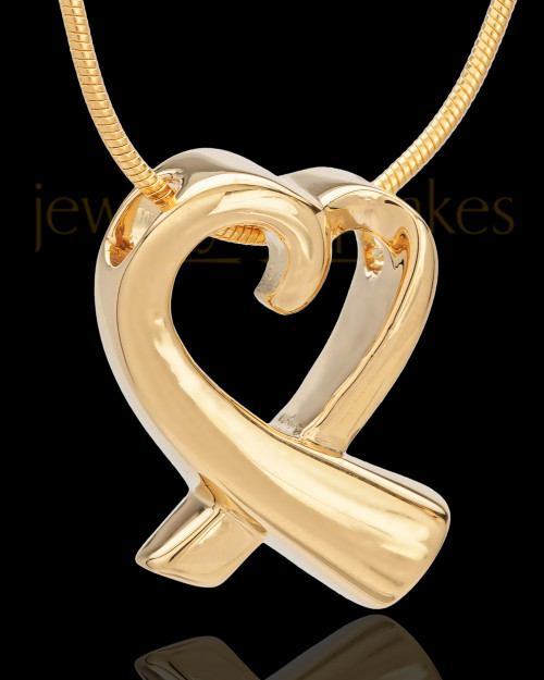 14K Gold Ribboned Heart Remembrance Urn Pendant