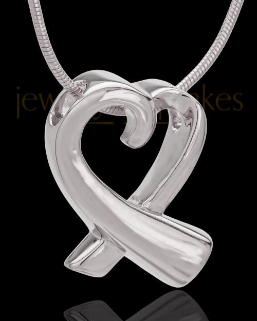 14K White Gold Ribboned Heart Remembrance Urn Pendant