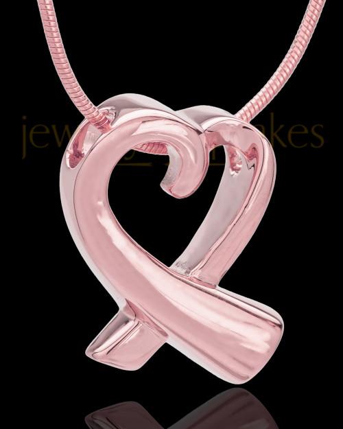 14K Rose Gold Ribboned Heart Remembrance Urn Pendant