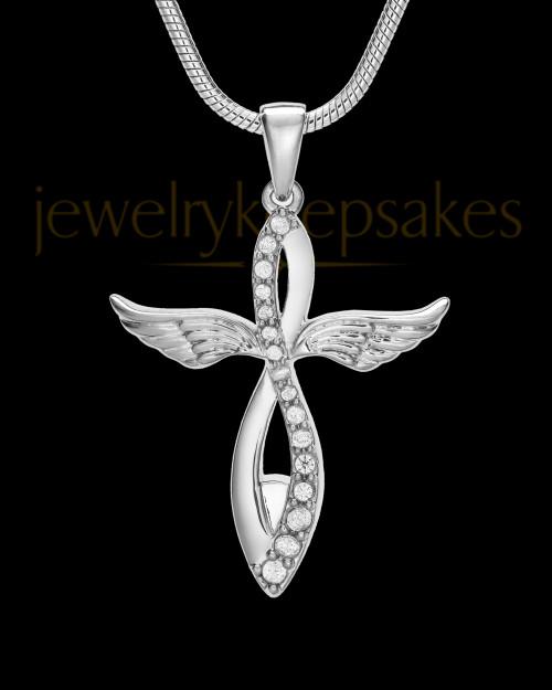 14K White Gold Glorified Cremation Jewelry