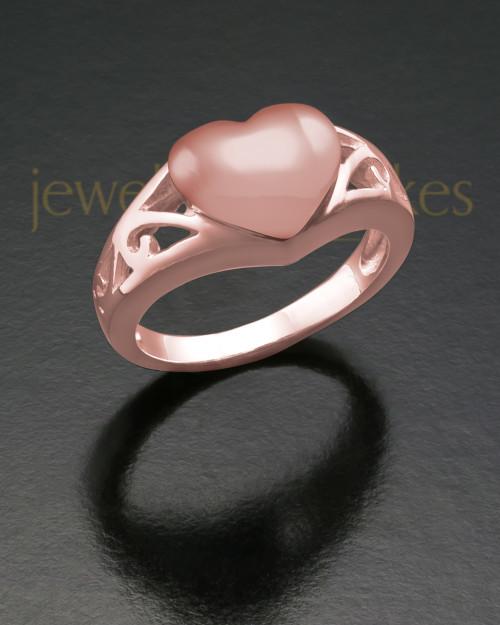 Ladies 14K Rose Gold Filigree Heart Cremation Ring
