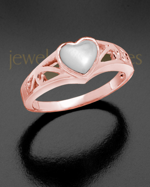 Ladies 14K Rose Gold Mother Of Pearl Filigree Heart Ashes Ring