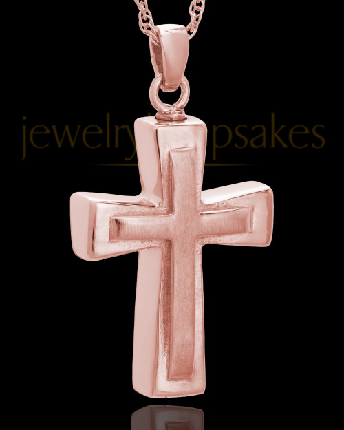 Urn Jewelry 14K Rose Gold Gold Two Cross Keepsake