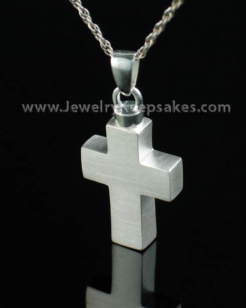 Cremation Urn Necklace Sterling Silver Medium Cross