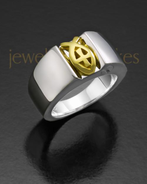 Ladies 14k White Gold Devout Ring For Ashes