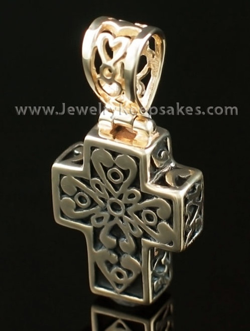Cremation Pendant Filigree Cross - 14K Gold