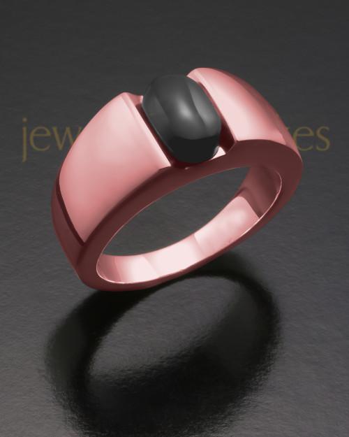 Men's 14K Rose Gold Beguiling Black Onyx Cremation Ring