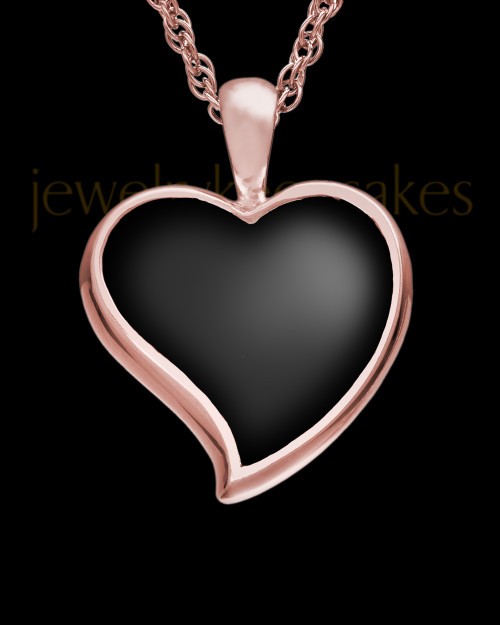 Ash Keepsake 14k Rose Gold Ebony Heart Keepsake