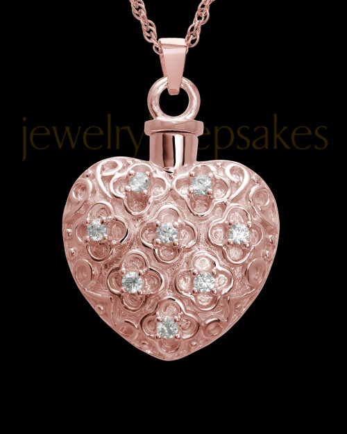 Necklace Urn 14K Rose Gold Twinkle Heart