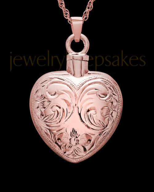 Cremation Urn Locket 14K Rose Gold Spirit Heart
