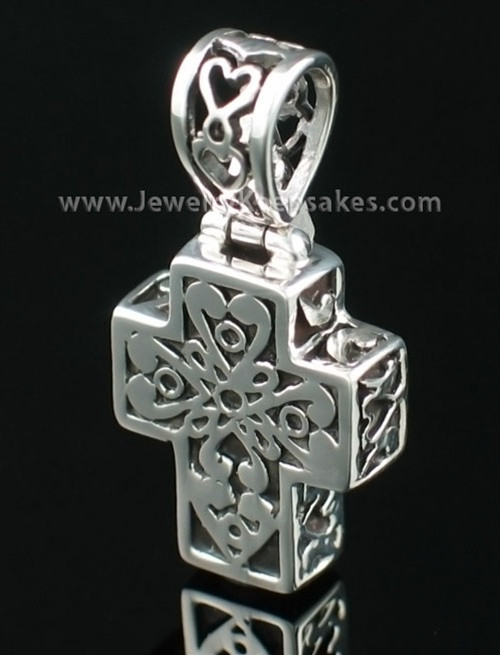 Cremation Pendant Filigree Cross - Sterling Silver