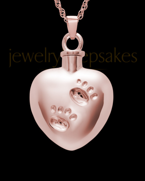 14K Rose Gold Cremation Jewelry By Your Side Heart Keepsake
