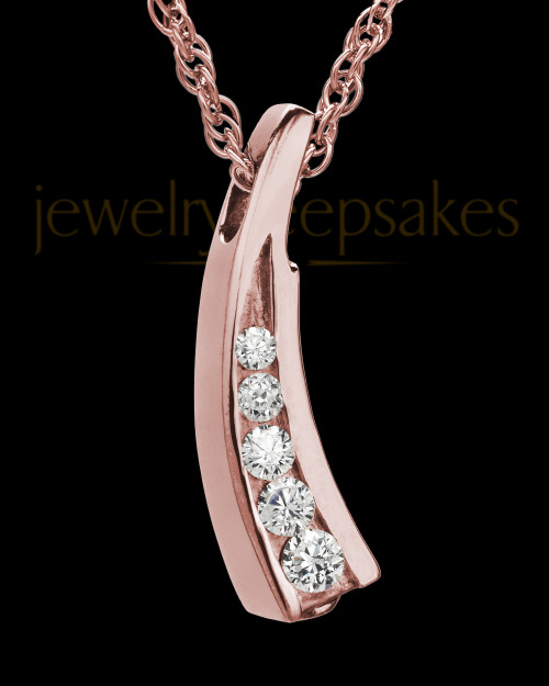 Remembrance Jewelry Cubic Zirconia Filled Solid 14K Rose Gold Leaf