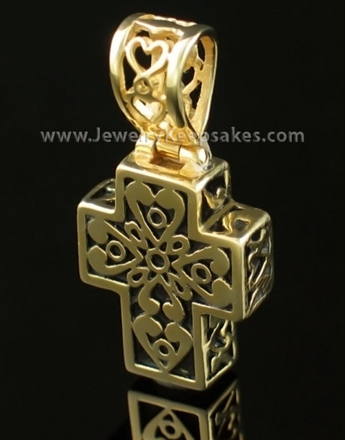 Cremation Pendant Filigree Cross - Gold Plated