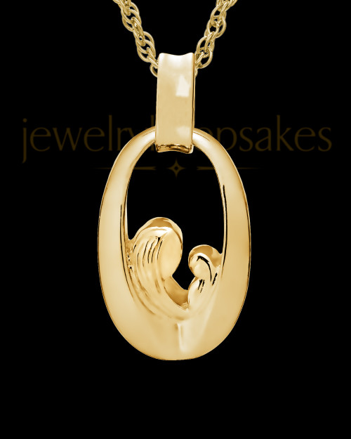 Jewelry Urn 14K Gold Heartfelt Round Keepsake