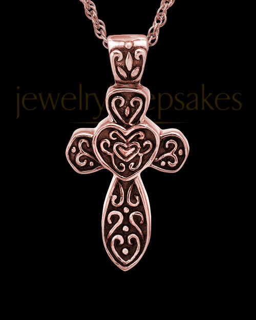 Cremation Pendant 14K Rose Gold Cathedral Cross Keepsake