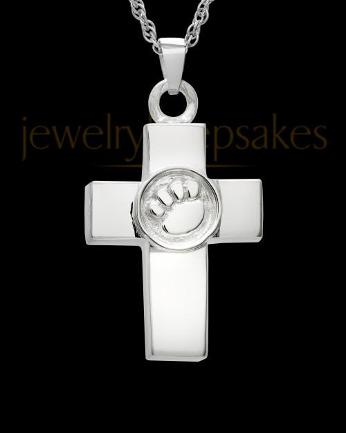 Ash Keepsake 14K White Gold Dedication Paw Cross Keepsake